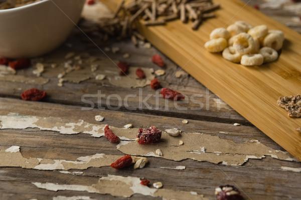 завтрак злаки высушите плодов деревянный стол Сток-фото © wavebreak_media