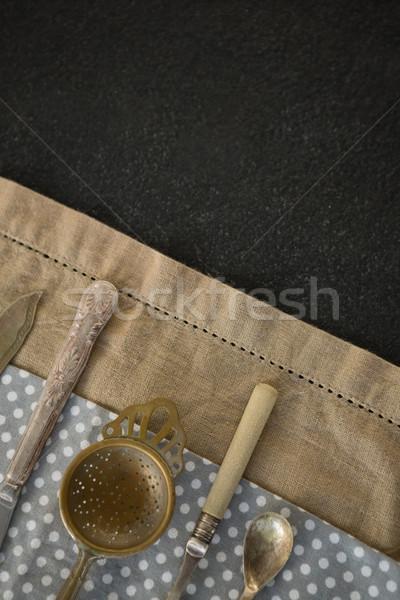 Overhead view of cutlery on napkins Stock photo © wavebreak_media