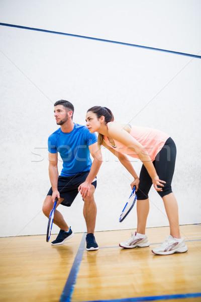 Couple fatigué squash jeu tribunal femme Photo stock © wavebreak_media