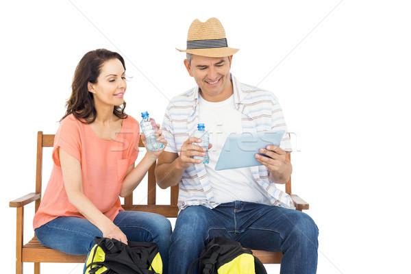Para ławce tabletka biały człowiek szczęśliwy Zdjęcia stock © wavebreak_media