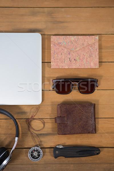различный оборудование древесины таблице наушники Сток-фото © wavebreak_media