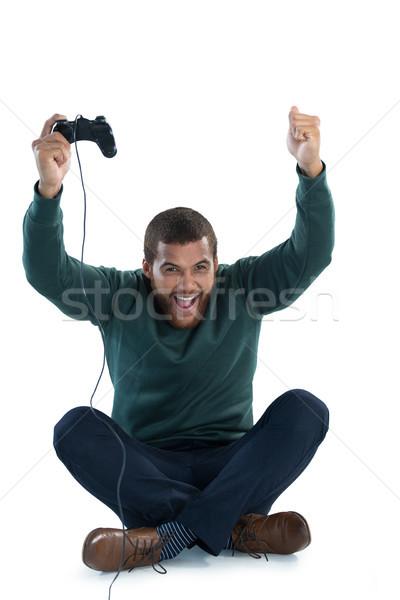 Heyecanlı adam oynama video oyunları beyaz teknoloji Stok fotoğraf © wavebreak_media