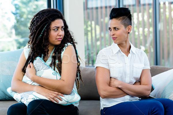 Ongelukkig lesbische paar vergadering sofa woonkamer Stockfoto © wavebreak_media