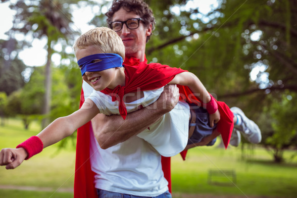 Father and son dressed as superman Stock photo © wavebreak_media