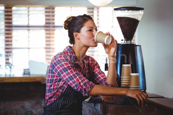 Waitress drinking a coffee Stock photo © wavebreak_media