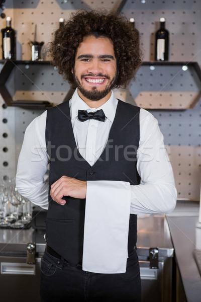 Cameriere pronto clienti ritratto sorridere Foto d'archivio © wavebreak_media