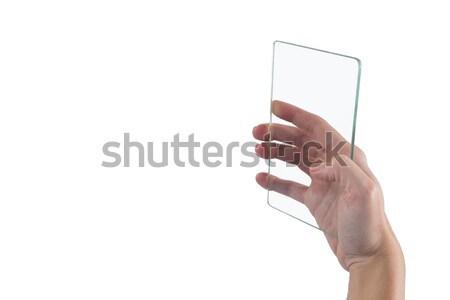 Kéz futurisztikus mobiltelefon fehér technológia képernyő Stock fotó © wavebreak_media