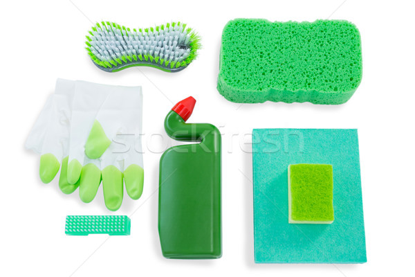 Overhead view of sponges with bottle and wipe pads Stock photo © wavebreak_media