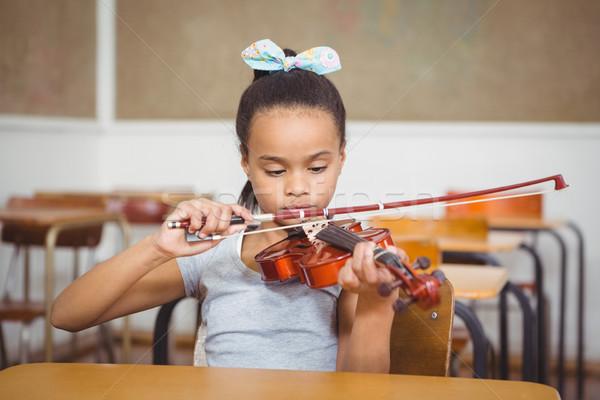 ストックフォト: 学生 · フルート · クラス · 学校 · 子 · バイオリン