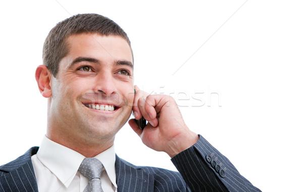 Portret zakenman telefoon geïsoleerd witte kantoor Stockfoto © wavebreak_media