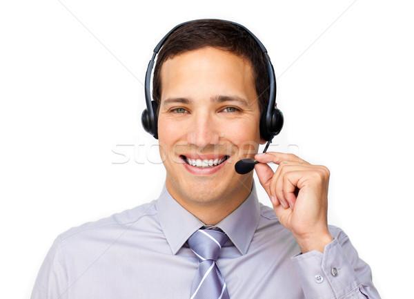 обслуживание клиентов агент гарнитура белый бизнеса улыбка Сток-фото © wavebreak_media