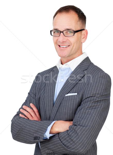 Empresário óculos dobrado brasão Foto stock © wavebreak_media
