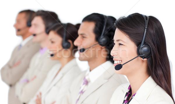 Pozytywny zespół firmy zestawu stałego rząd biały Zdjęcia stock © wavebreak_media