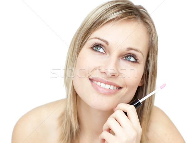 Portret mooie vrouw lippenstift witte gezicht Stockfoto © wavebreak_media