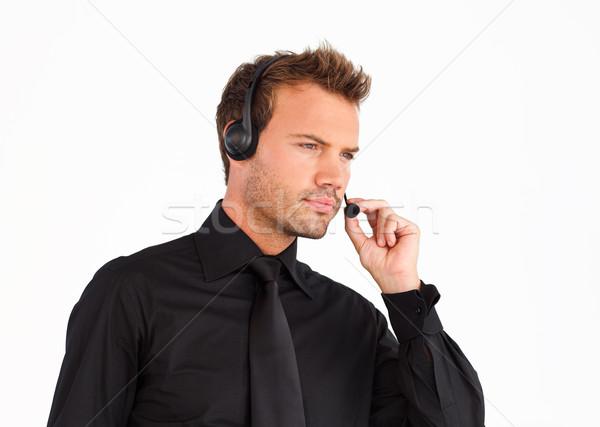 Service clients représentant homme casque affaires téléphone Photo stock © wavebreak_media
