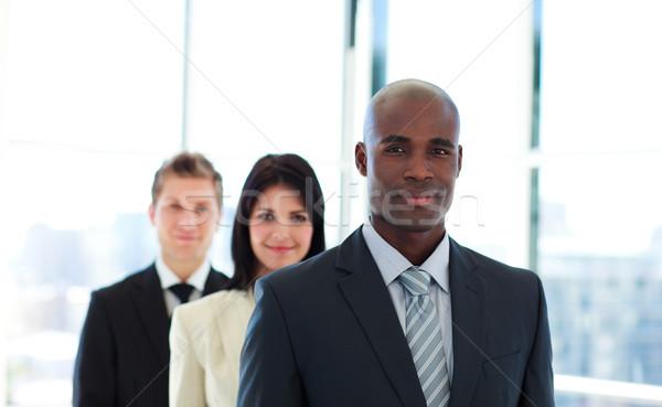 Afrikaanse zakenman leidend team kantoor gezicht Stockfoto © wavebreak_media