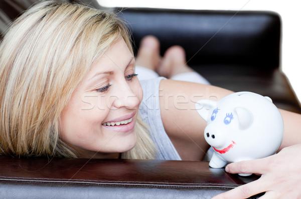 Feliz mulher branco diversão banco Foto stock © wavebreak_media