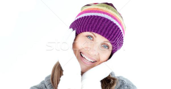 Pozytywny kobieta patrząc kamery biały uśmiech Zdjęcia stock © wavebreak_media