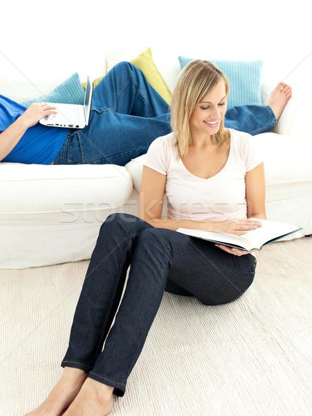 United couple having free time in the living-room Stock photo © wavebreak_media