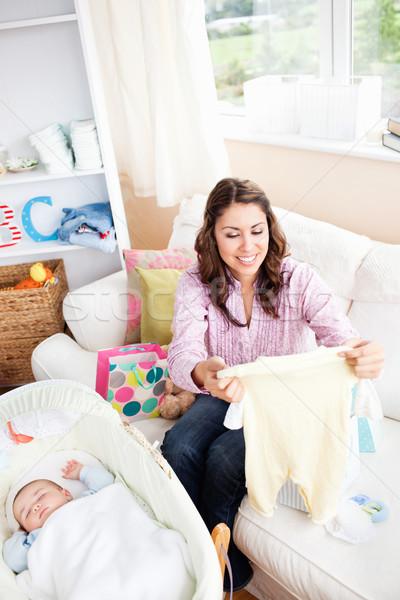 радостный молодые мамы ребенка пижама Сток-фото © wavebreak_media