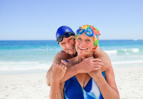 Mutlu yaşlı çift plaj kadın kız Stok fotoğraf © wavebreak_media