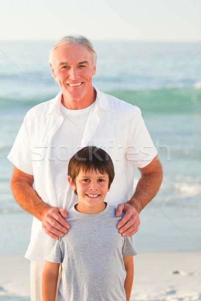 Photo stock: Grand-père · petit-fils · plage · famille · coucher · du · soleil · mer