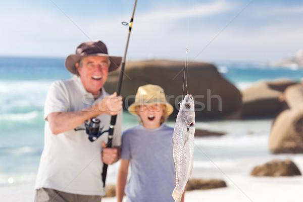 Man vissen kleinzoon natuur zee zomer Stockfoto © wavebreak_media