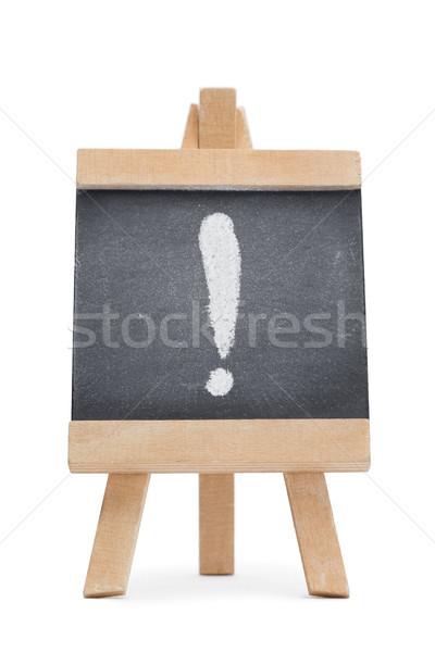 Tablica wykrzyknik napisany odizolowany biały drewna Zdjęcia stock © wavebreak_media