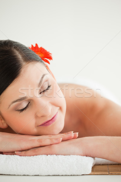 Dark-haired woman getting a spa treatment lying down Stock photo © wavebreak_media