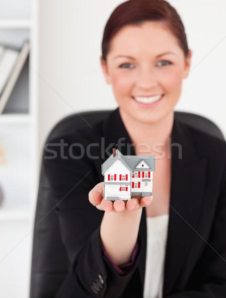 Fiatal káprázatos nő öltöny tart miniatűr Stock fotó © wavebreak_media