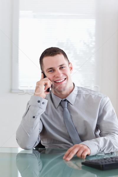 Glimlachend gelukkig zakenman luisteren bezoeker business Stockfoto © wavebreak_media