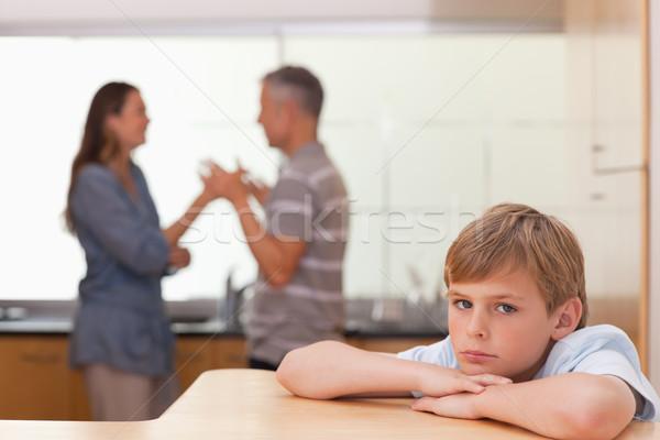 печально мальчика родителей аргумент кухне Сток-фото © wavebreak_media