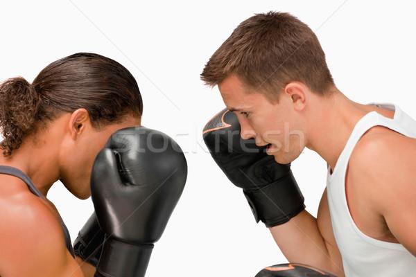 Oldalnézet kettő boxeralsó fehér fitnessz box Stock fotó © wavebreak_media