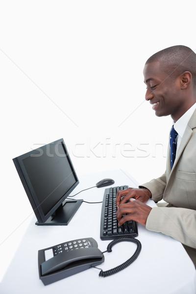 Foto stock: Vista · lateral · empresário · branco · homem · feliz
