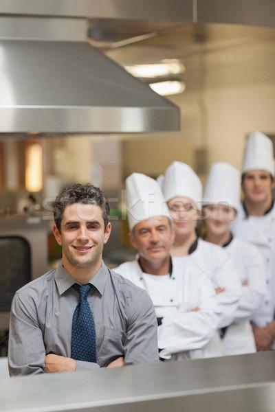 Pincér séfek áll konyha boldog étterem Stock fotó © wavebreak_media
