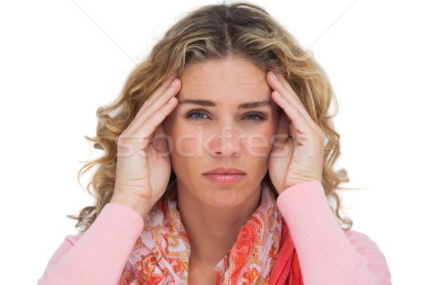 Cierpienie głowy biały kobieta portret Zdjęcia stock © wavebreak_media