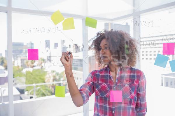 Frau afro Zeichnung Flussdiagramm Marker hellen Stock foto © wavebreak_media