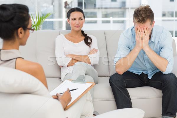 несчастный пару сидят диван терапии человека Сток-фото © wavebreak_media