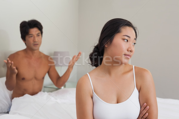 Couple having an argument in bed Stock photo © wavebreak_media