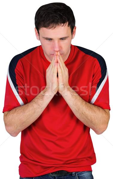 Nerwowy piłka nożna fan czerwony biały człowiek Zdjęcia stock © wavebreak_media
