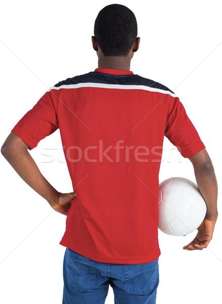 Fußball Fan rot halten Ball weiß Stock foto © wavebreak_media