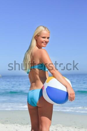 блондинка соответствовать женщину полосатый Бикини пляж Сток-фото © wavebreak_media
