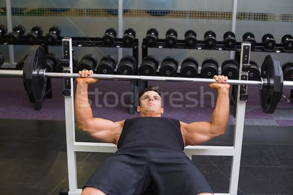 определенный мышечный человека штанга молодые Сток-фото © wavebreak_media