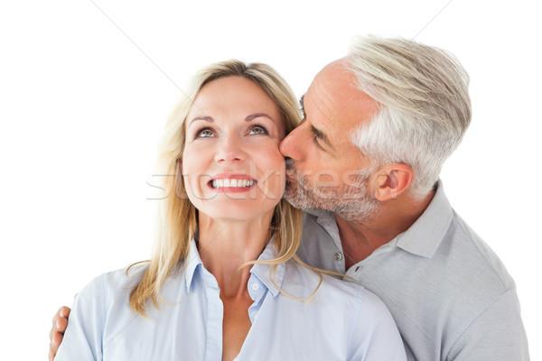 優しい 男 キス 妻 頬 白 ストックフォト © wavebreak_media
