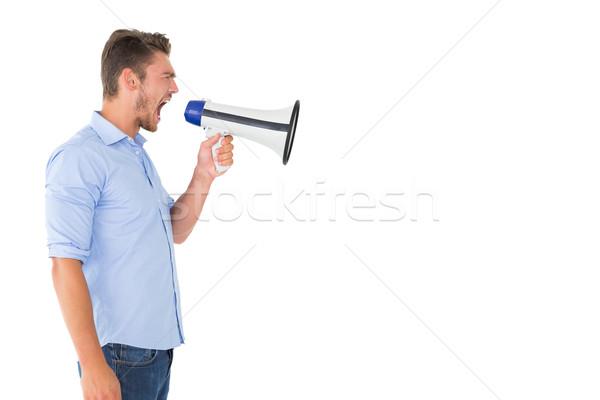 Mérges férfi kiált megafon fehér beszél Stock fotó © wavebreak_media