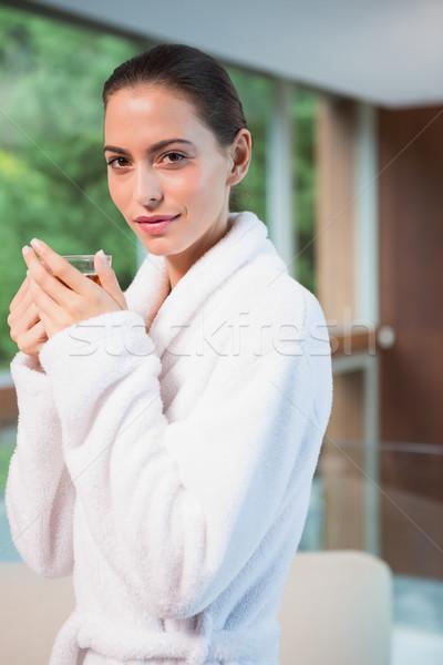 Stock fotó: Portré · nő · fürdőköpeny · tea · gyönyörű · fiatal · nő