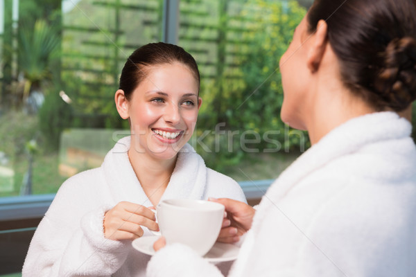 Smiling women in bathrobes having tea Stock photo © wavebreak_media
