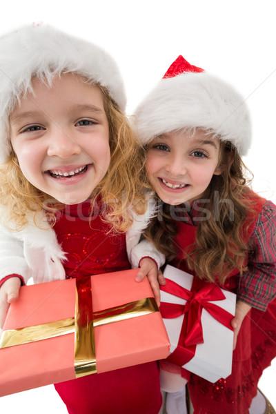 ünnepi kicsi testvérek mosolyog kamera tart Stock fotó © wavebreak_media