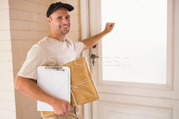 Stock fotó: Mosolyog · ezermester · ajtó · férfi · boldog · ipar