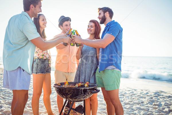 幸せ 友達 バーベキュー 飲料 ビール ビーチ ストックフォト © wavebreak_media